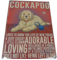 COCKAPOO DOG HUMOUROUS CHARACTER METAL SHABBY CHIC PLAQUE DOG LOVER GIFT